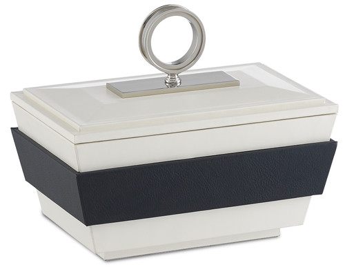 "10"" Currey and Company Brash White/Navy Small Box - 1"
