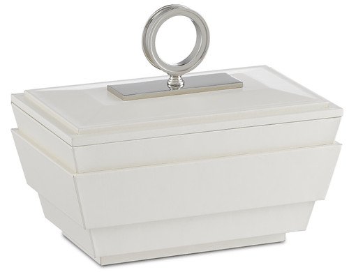"10"" Currey and Company Brash White Small Box - 1"