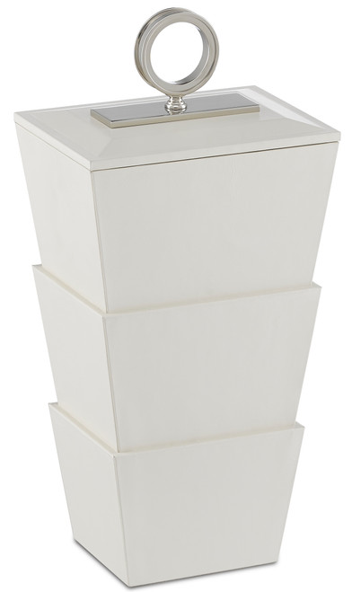 "17"" Currey and Company Brash White Medium Box - 1"
