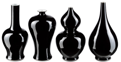 "10"" Currey and Company Imperial Black Vase Set - 1"