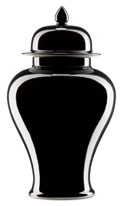 """14"""" Currey and Company Imperial Black Small Ginger Jar - 1"""