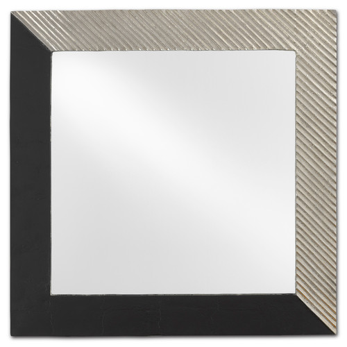 "24"" Currey and Company Calum Silver Square Mirror - 1"