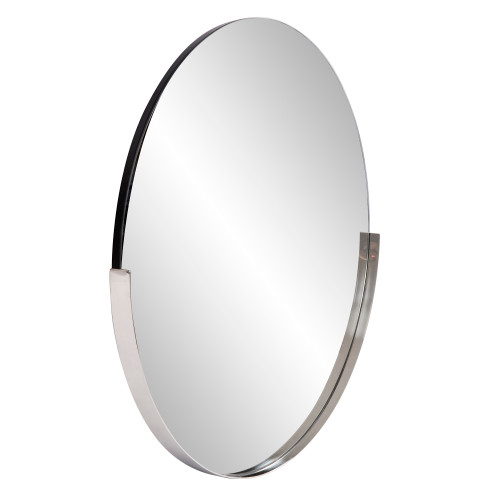 "30"" Howard Elliott Dante Stainless Steel Round Silver Wall Mirror - 1"