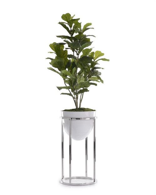"72"" John Richard Green Fiddle-Leaf Fig Tree with Silver Stand Planter - 1"