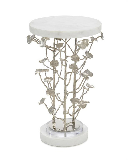 """25"""" John Richard Marble and Brushed Nickel Branch Martini Table - 1"""