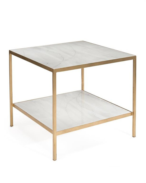 "26"" John Richard Austin A James' New Orleans White Gold End Table with Shelf - 1"
