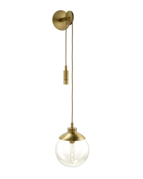 "19"" John Richard Antique Gold Single-Light Pulley Sconce - 1"