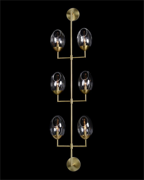 "61"" John Richard Eros Elliptical Antique Brass Six-Light Wall Fixture - 1"