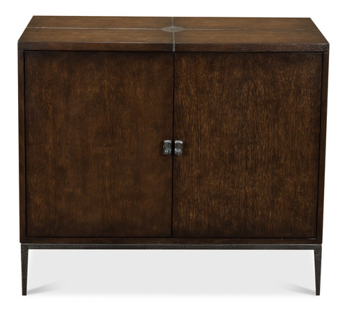 Sarreid 2 Door Cabinet, Burnt Brown Oak  -1