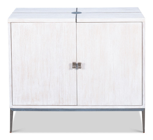 Sarreid 2 Door Cabinet, Whitewash White  -1