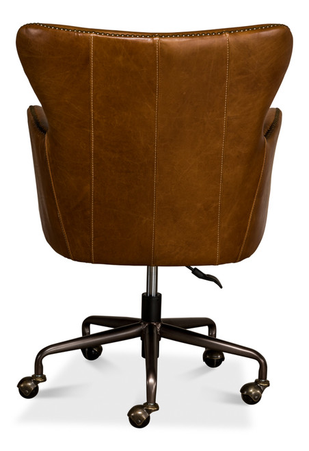 Sarreid Andrew Jackson Desk Chair, Cuba Brown  -1