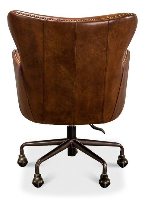Sarreid Andrew Jackson Desk Chair, Vintage Cigar -1