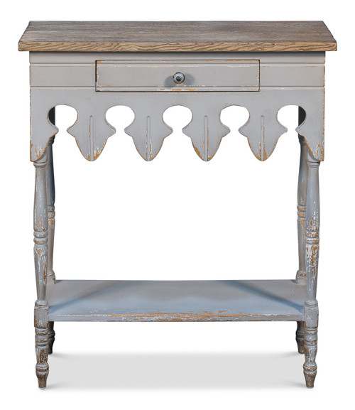 Sarreid Antoinette Hall Table, Soft White/Gry  -1