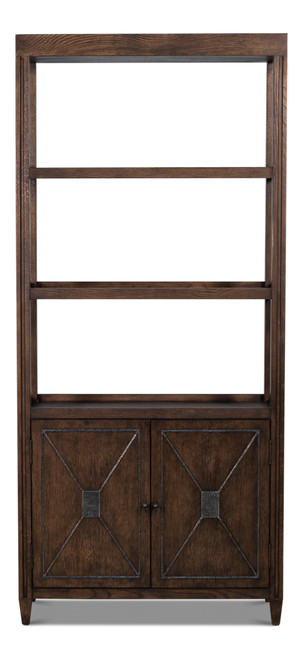 Sarreid Atlas Bookcase, Artisan Grey  -1