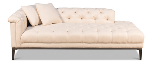 Sarreid Fainting Couch, Off White Linen  -1