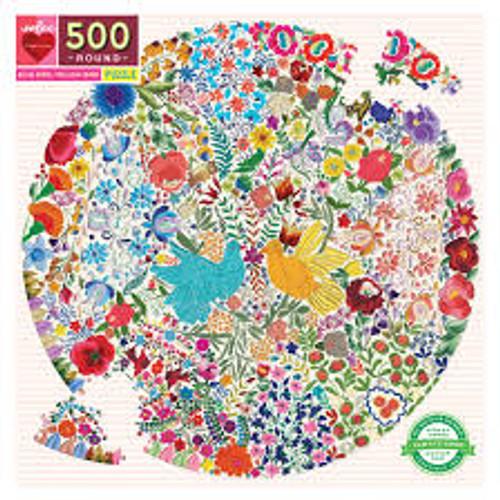 Blue Bird Yellow Bird Round Puzzle 500 piece
