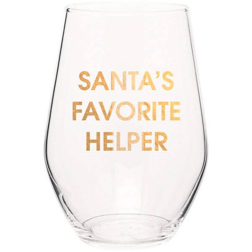 Santa's Favorite Helper Stemless Wine Glass