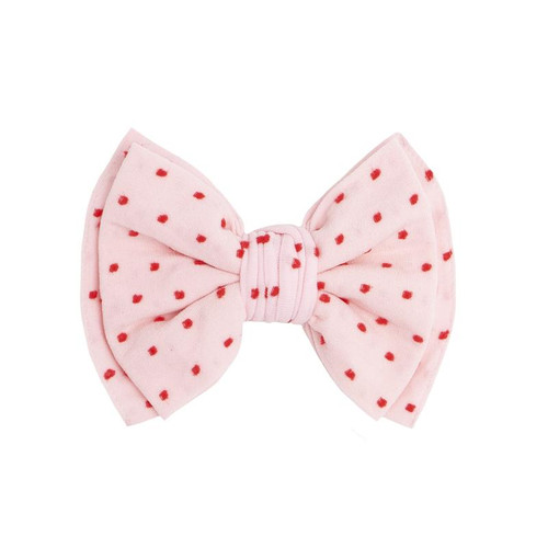 Baby Bling Bows Shabby Classic Clip - Pink w/ Red Dots