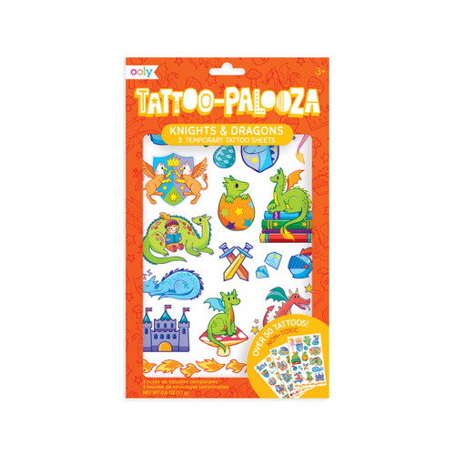 Tattoo Palooza Temp Tattoos - Knights and Dragons