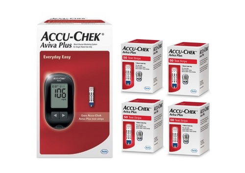Accu-Chek Aviva Plus  Meter Kit [+] Aviva Plus 200 Test Strips For GLucose Care