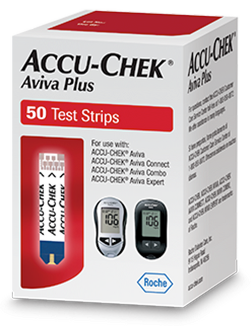 Accu-Chek Aviva Plus  50 Test Strips For GLucose Care