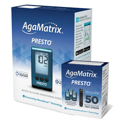 AgaMatrix WaveSense Presto Meter [+] Presto 50 Test Strips For GLucose Care