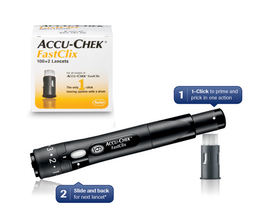 Accu-Chek FastClix Lancing Device [+] FastClix lancet 102 Ct For GLucose Care