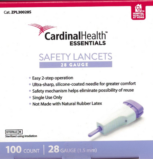 Cardinal Health ReliaMed Safety Lancet 28G Disposable For GLucose Care