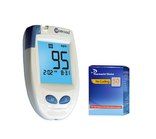 Clever Choice HD Blood Glucose Meter [+] Pharmacist Choice 50 Test Strips For GLucose Care