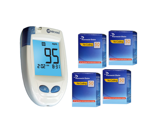 Clever Choice HD Blood Glucose Meter [+] Pharmacist Choice 200 Test Strips For GLucose Care