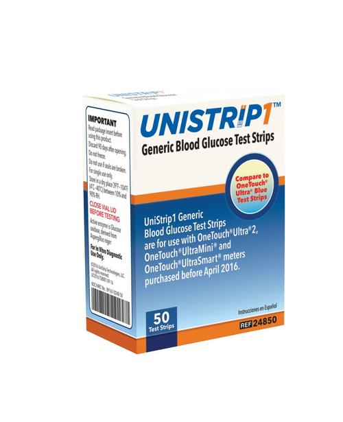 UniStrip Glucose 50 Test Strips For GLucose Care