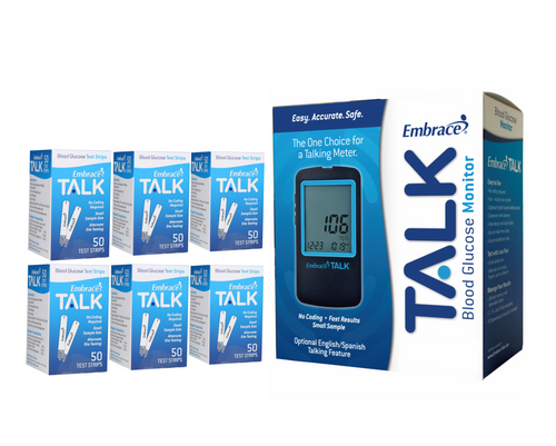 Omnis Health  Embrace No-Code Talking Meter [+] Embrace 300 Test Strips For GLucose Care