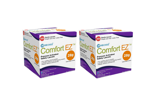 Clever Choice ComfortEZ 28G Safety Lancet 200/BX [2 pack] For GLucose Care