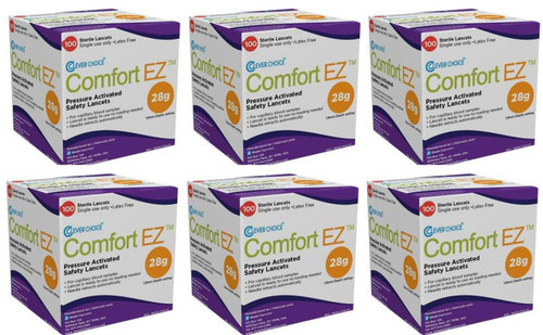 Clever Choice ComfortEZ 28G Safety Lancet 600/BX [6 pack] For GLucose Care