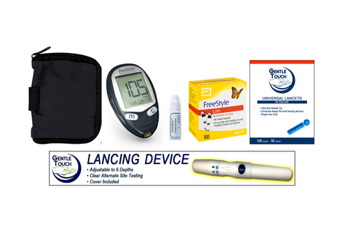 ABBOTT FreeStyle Freedom Lite Meter [+] Freestyle 100 Test Strips, Lancing Device & Lancets