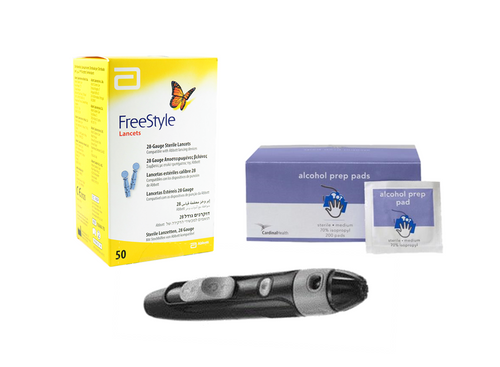 ABBOTT FreeStyle Lancing  Device [+] freestyle Lancets 100 ct & Alcohol Swab For GLucose Care