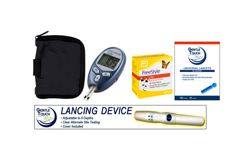 ABBOTT FreeStyle Lite Meter [+] Freestyle 100 Test Strips, Lancing Device & Lancets For GLucose Care