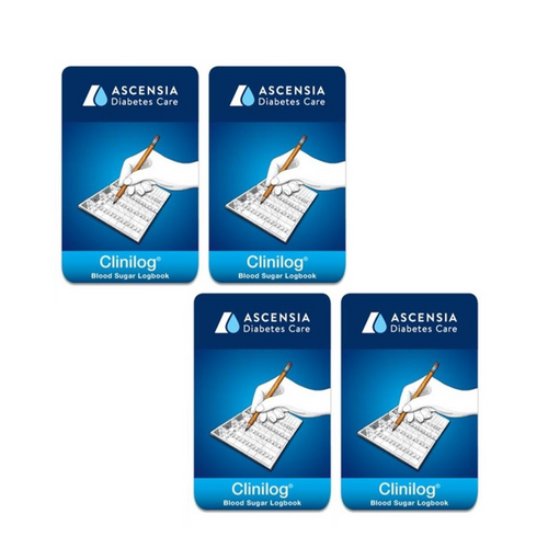 Ascensia Bayer Clinilog LogBook [4 pack] For GLucose Care