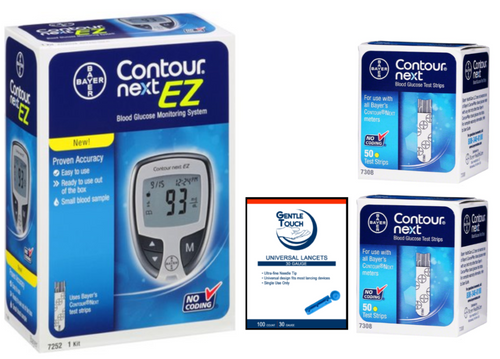 Ascensia Bayer Contour Next EZ Meter [+] Next 100 Test Strips, Lancets For GLucose Care
