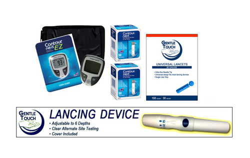 Ascensia Bayer Contour Next EZ Meter [+] Next 100 Test Strips, Lancing Device & Lancets For GLucose Care