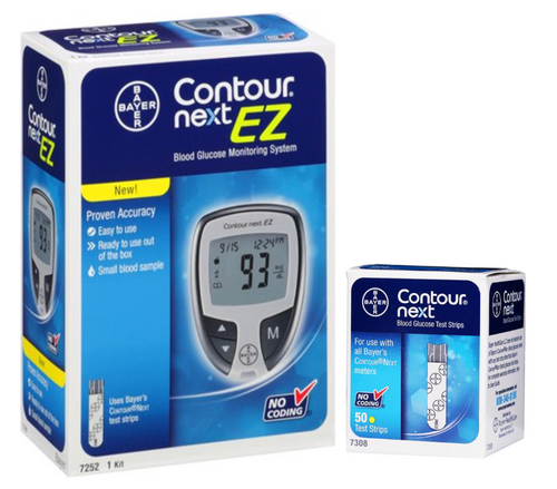 Ascensia Bayer Contour Next EZ Meter [+] NEXT 50 Test Strips For GLucose Care