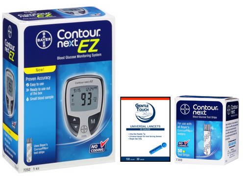 Ascensia Bayer Contour Next EZ Meter [+] NEXT 50 Test Strips, Lancets For GLucose Care