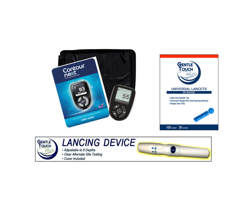 Ascensia Bayer Contour Next Meter [+] Lancing Device & Lancets For GLucose Care
