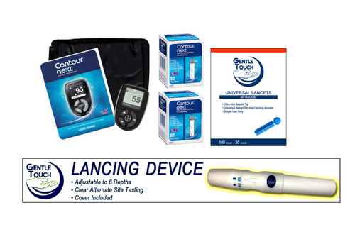 Ascensia Bayer Contour Next Meter [+] Next 100 Test Strips, Lancing Device & Lancets For GLucose Care