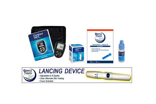 Ascensia Bayer Contour Next Meter [+] Next 50 Test Strips, Lancing Device & Lancets For GLucose Care