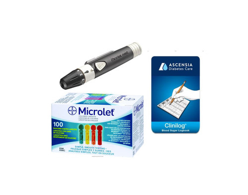 Ascensia Bayer Microlet NEXT Lancing Device [+] Microlet Color Lancets, Clinilog Log Book For GLucose Care