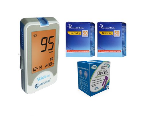 Clever Choice Voice HD Meter [+] Pharmacist Choice 100 Test Strips, Lancets 100 Ct For GLucose Care