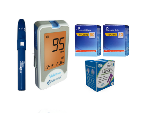 Clever Choice Voice HD Meter [+] Pharmacist Choice 100 Test Strips, Lancing Device & Lancets For GLucose Care