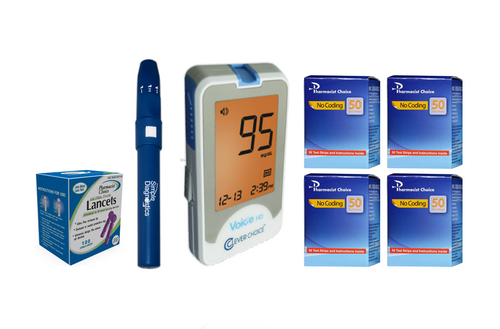 Clever Choice Voice HD Meter [+] Pharmacist Choice 200 Test Strips, Lancing Device & Lancets For GLucose Care
