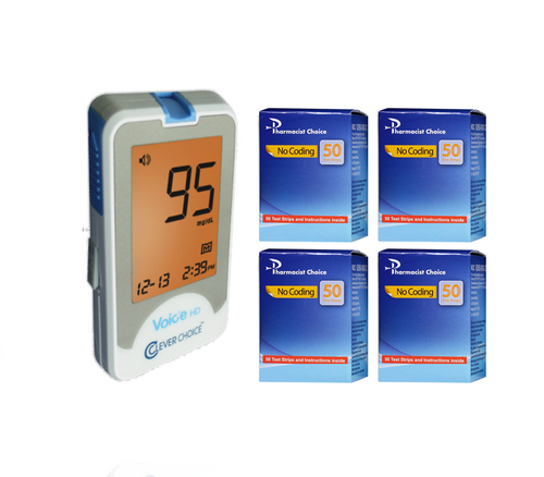 Clever Choice Voice Meter [+] Pharmacist Choice 200 Test Strips For GLucose Care